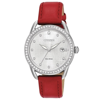 Picture of Citizen Ladies' LTR Watch with Red Leather Strap & Crystals