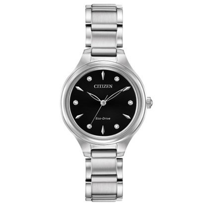 Picture of Citizen Eco-Drive Corso Stainless Steel Watch with Black Dial