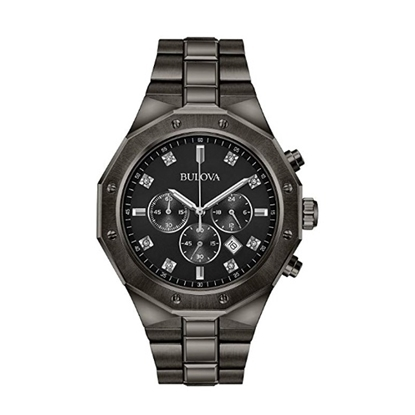 Picture of Bulova Men's Gunmetal-Tone Stainless Steel Watch with Diamonds