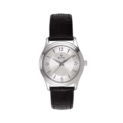 Picture of Bulova Ladies' Watch with Black Leather Strap & Silver Dial