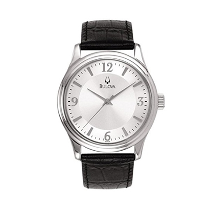 Picture of Bulova Men's Watch with Black Leather Strap & Silver Dial