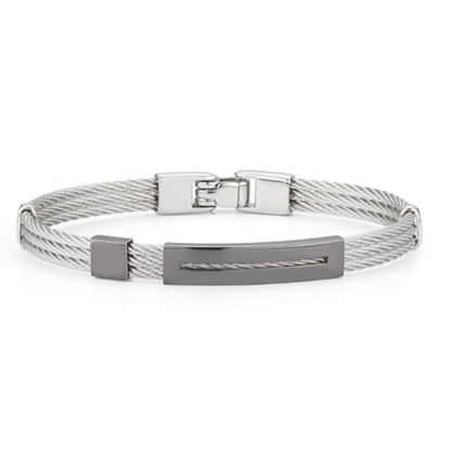 Picture of ALOR Men's Grey Cable & Black PVD Bracelet