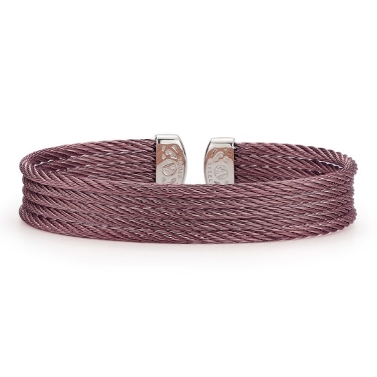 Picture of ALOR Classique Burgundy Steel Cable Bangle