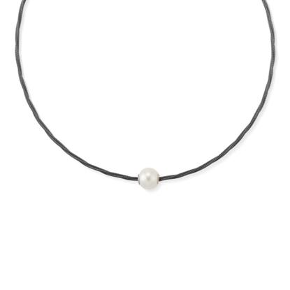Picture of ALOR Noir Black Steel Cable Pearl Necklace