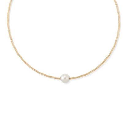 Picture of ALOR Classique Yellow Steel Cable Pearl Necklace