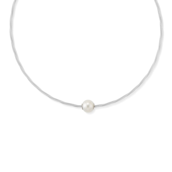 Picture of ALOR Classique Grey Steel Cable Pearl Necklace