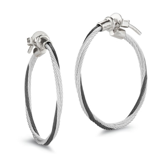 Picture of ALOR Classique Black/Grey Steel Cable Hoop Earrings