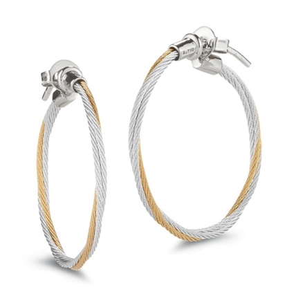 Picture of ALOR Classique Yellow/Grey Steel Cable Hoop Earrings