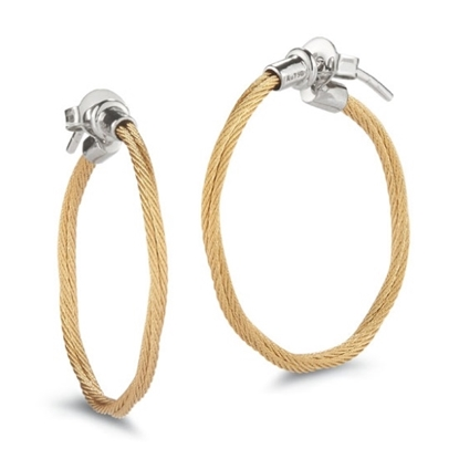 Picture of ALOR Classique Yellow Steel Cable Hoop Earrings