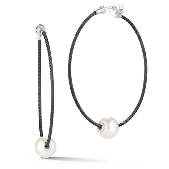 Picture of ALOR Classique 18K White Gold & Pearl Black Cable Earrings