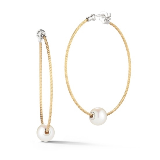 Picture of ALOR Classique 18K White Gold & Pearl Yellow Cable Earrings