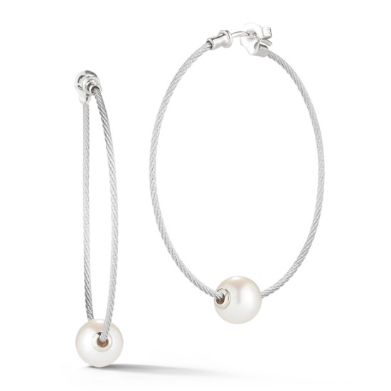 Picture of ALOR Classique 18K White Gold & Pearl Grey Cable Earrings