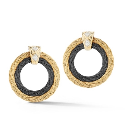 Picture of ALOR Noir 18K Yellow Gold Two-Tone Cable Earrings w/ Diamonds