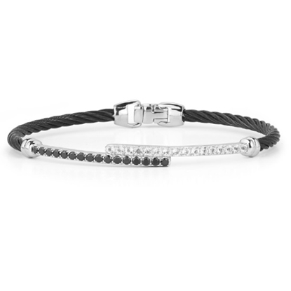 Picture of ALOR Black Cable Bracelet 14K White Gold- White Topaz/Blk Onyx