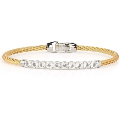 Picture of ALOR Burano 14K White Gold Yellow Cable Bracelet w/White Topaz