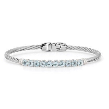 Picture of ALOR Burano 14K White Gold Grey Cable Bracelet with Blue Topaz
