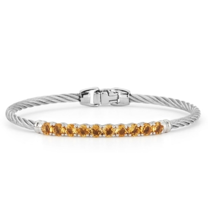 Picture of ALOR Burano 14K White Gold Grey Cable Bracelet with Citrine