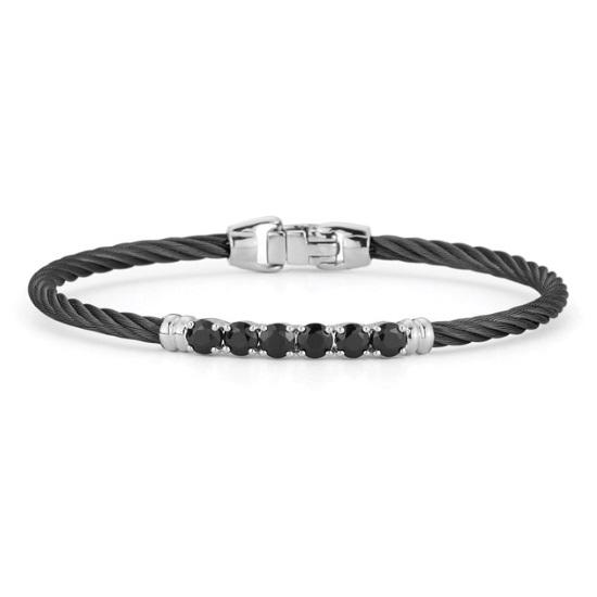 Picture of ALOR Burano 14K White Gold/Black Cable Bracelet w/ Black Onyx