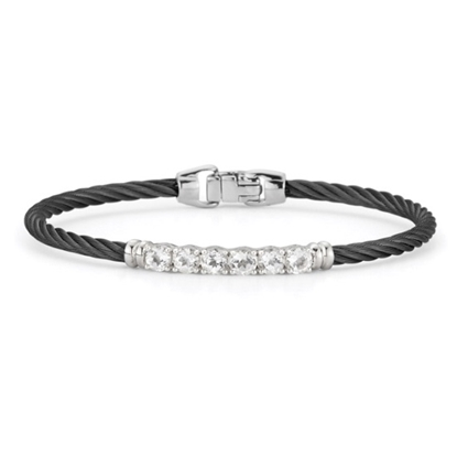 Picture of ALOR Burano 14K White Gold & Black Cable Bracelet w/ Wht Topaz