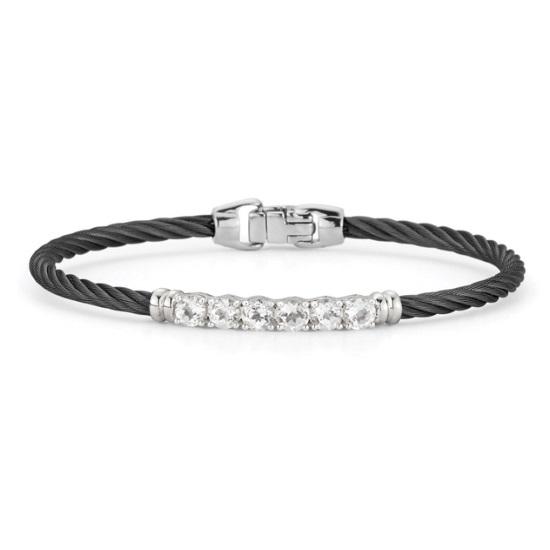 Picture of ALOR Burano 14K White Gold & Black Cable Bracelet w/ Wht Topaz