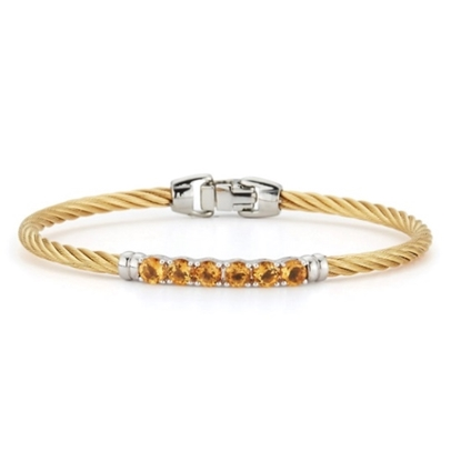 Picture of ALOR Burano 14K White Gold & Yellow Cable Bracelet w/ Citrine