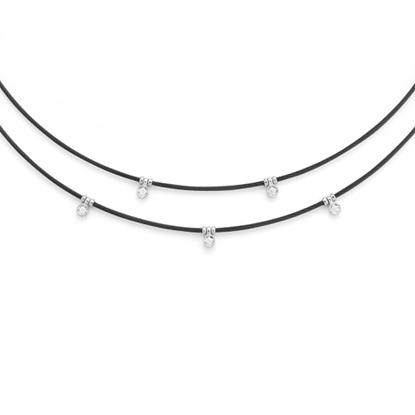 Picture of ALOR Two-Tiered Black Steel Cable Necklace with Diamonds