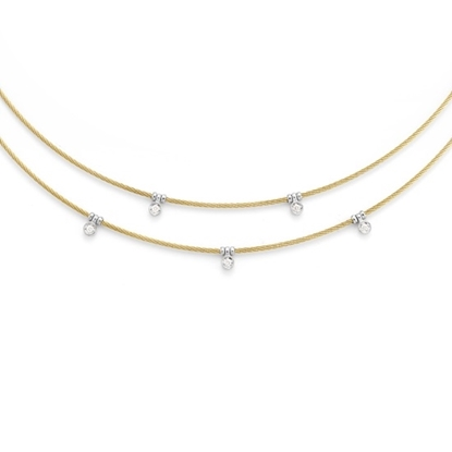 Picture of ALOR Two-Tiered Yellow Steel Cable Necklace with Diamonds