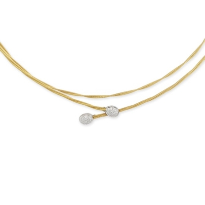 Picture of ALOR 18K White Gold/Yellow Steel Cable Necklace with Diamonds