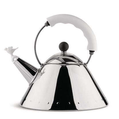 Picture of Alessi Kettle with Bird-Shaped Whistle - White