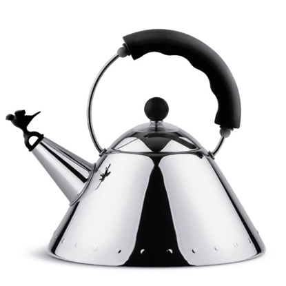 Picture of Alessi Kettle with Bird-Shaped Whistle - Black