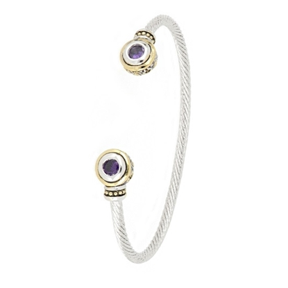 Picture of John Medeiros Beijos Two-Tone Small Cuff - Amethyst