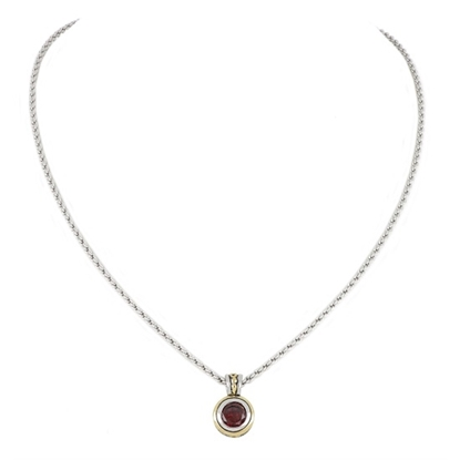 Picture of John Medeiros Beijos Bezel Pendant Necklace - Garnet