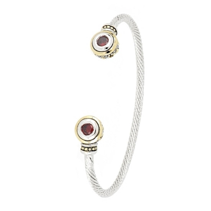Picture of John Medeiros Beijos Two-Stone Small Cuff Bracelet - Garnet