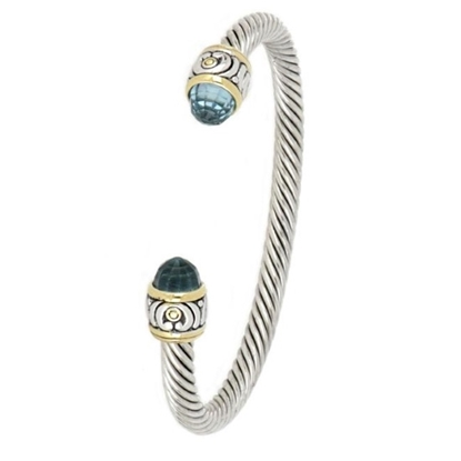 Picture of John Medeiros Nouveau Small Wire Cuff Bracelet - Aqua
