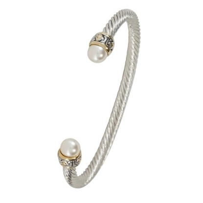 Picture of John Medeiros Ocean Images Small Pearl Wire Cuff Bracelet