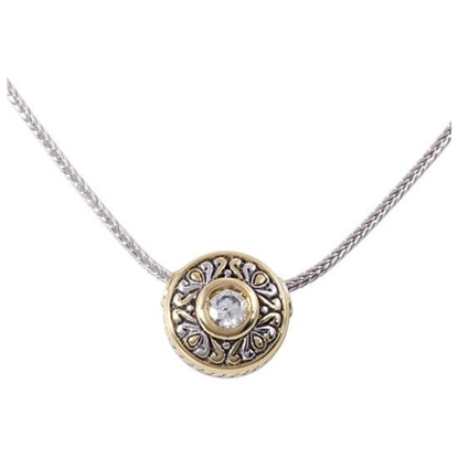 Picture of John Medeiros Antiqua Sliding Circle Pendant on Chain - Clear