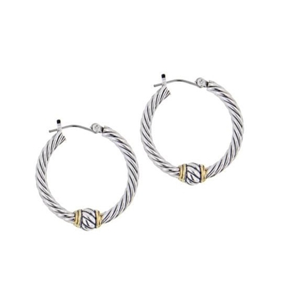 Picture of John Medeiros Oval Link Twisted Wire Hoop Earrings