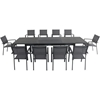 """Picture of Dawson 11-Piece Dining Set with 10 Sling Chairs and an Expandable 40"""" x 118"""" Table"""