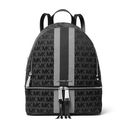 Picture of Michael Kors Rhea Zip Striped Medium Backpack - Black Multi