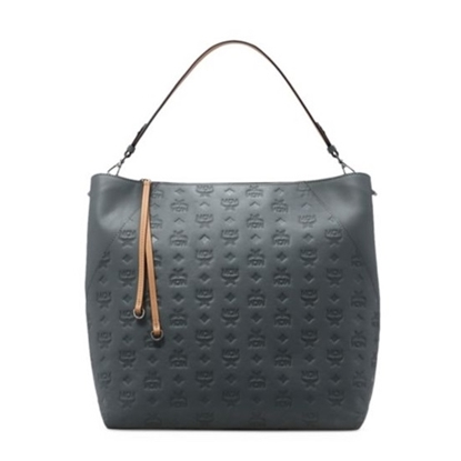 Picture of MCM Klara Large Monogrammed Leather Hobo - Charcoal