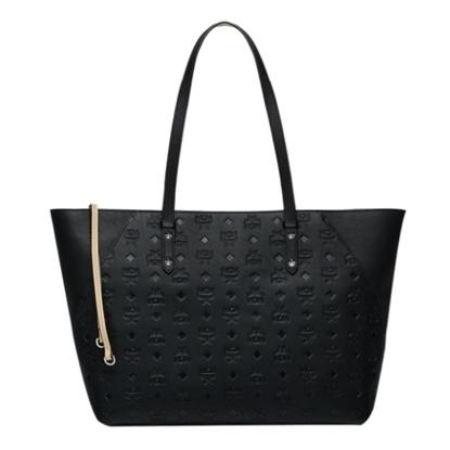 Picture of MCM Klara Shopper in Monogrammed Leather - Black