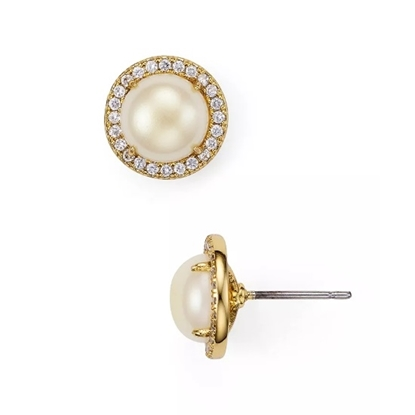 Picture of Kate Spade Bright Ideas Pave Halo Studs - Cream/Gold