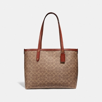Picture of Coach Signature Central Tote - Tan/Rust/Brass