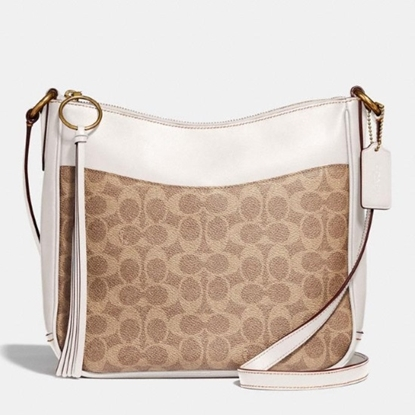 Picture of Coach Signature Chaise Crossbody - Tan/Chalk/Brass