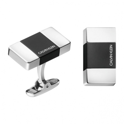 Picture of Calvin Klein Strong Steel & Black PVD Cufflinks