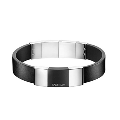 Picture of Calvin Klein Men's Strong Steel & Black PVD Leather Bracelet