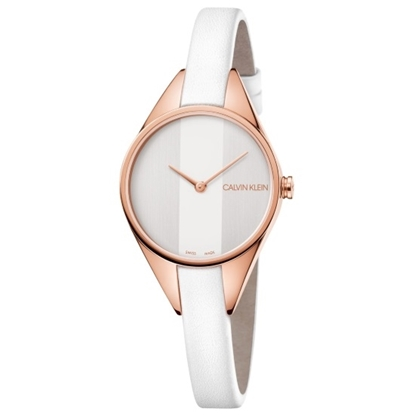 Picture of Calvin Klein Ladies Rebel White Leather & Rose Gold-Tone Watch