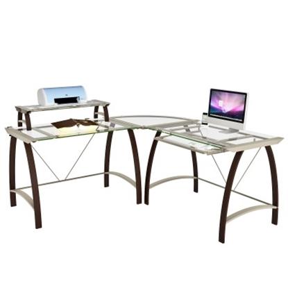 Picture of Z-Line Designs Kayden Computer Desk - Glass Top/Espresso Legs