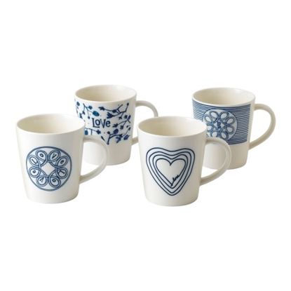 Picture of Royal Doulton Ellen Degeneres Blue Love Mugs - Set of 4