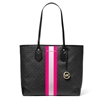 Picture of Michael Kors Eva Signature Large Tote - Black/Neon Pink